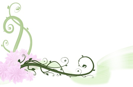 Flower and Swirl Background Vector
