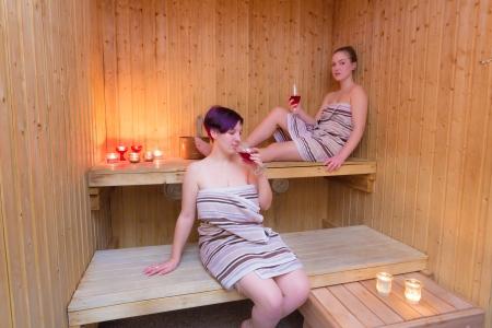 Girls relaxing in a sauna