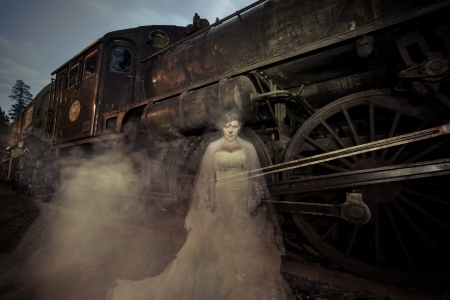 ghost woman: Victorian Ghost Train Stock Photo