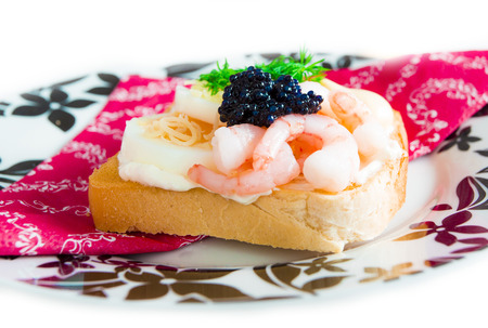 Fresh toast with caviar photo
