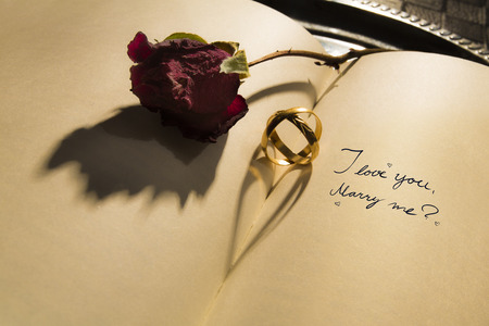 me: Marry me - Heart shadow Stock Photo