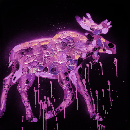 lapland: Abstract Moose Painting