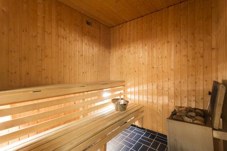 finland sauna: Sauna interior Stock Photo