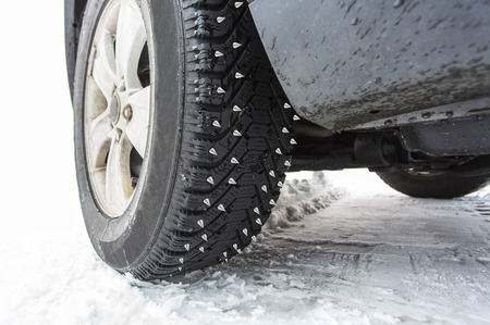 Spiked studded tires Stock Photo