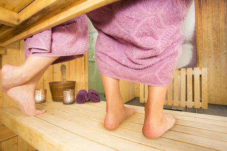 finland sauna: Couple in a hot sauna