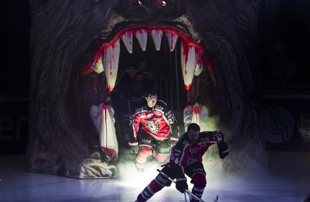 """Lulea, Švédsko - 18. března 2015. Daniel Zaar (# 27 Lulea Hockey) vstupuje do ledu v """"Coop Arena"""". Švédská hokejová liga-hra mezi Lulea hokeje a Frolunda Indians. Redakční"""