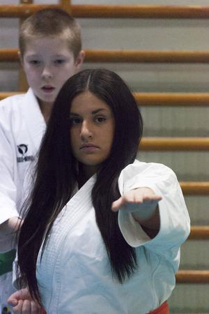 defensa personal: Skelleftea, Suecia - 7 de febrero de 2011. práctica Shotokan Karate con Sensei, Robin Nyholm y Tero Nyholm. Técnicas de defensa personal - Skelleftehamn Shotokan Karate Klubb.