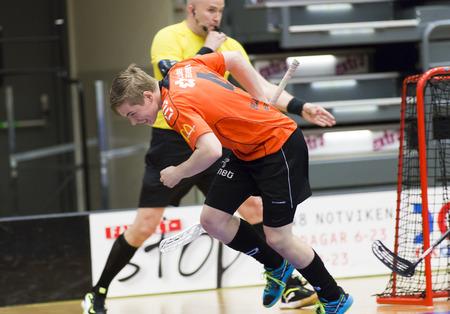 Lulea, Sweden - June 4, 2015. Friendship game in floorball between Lulea Hockey and IBK Lulea. Joel Wadsten (IBK Lulea) scores a goal!