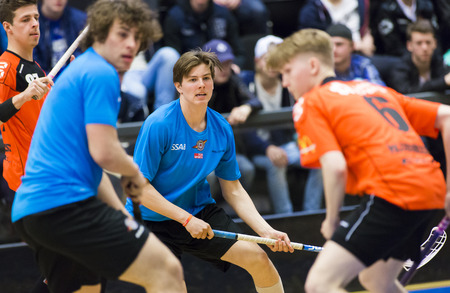 Lulea, Sweden - June 4, 2015. Friendship game in floorball between Lulea Hockey and IBK Lulea. Editorial