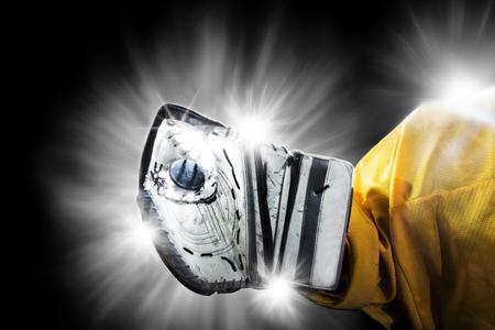 Ice Hockey Goalie - Glove Save Stock fotó