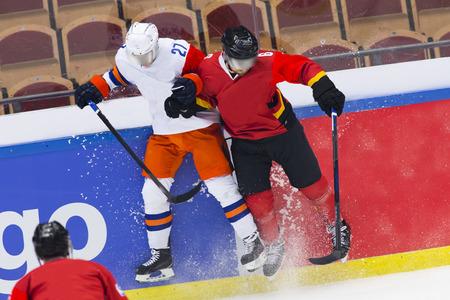hit: Ice Hockey - Big hit Stock Photo