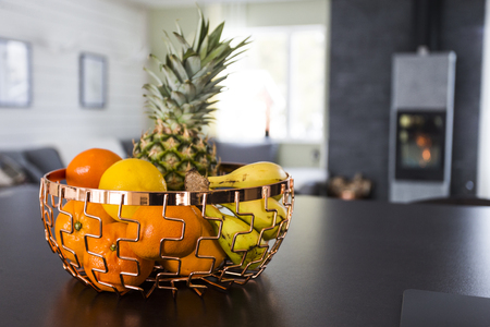 Fruits in a modern living room Stock Photo