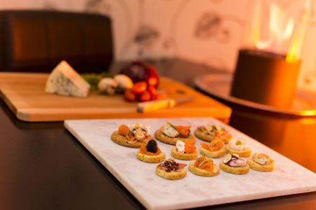 Amazing Appetizers - Sunset background lighting Stock Photo