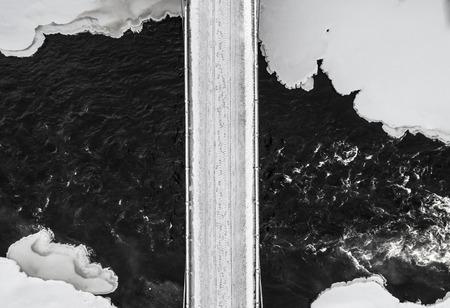 Winter bridge road landscape - Aerial view
