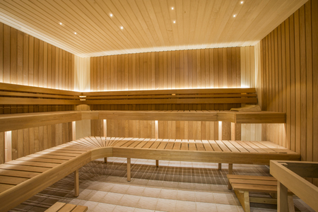 Sauna interior - Relax in a hot sauna Banque d'images