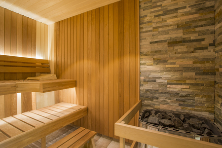 Sauna interior - Relax in a hot sauna Reklamní fotografie