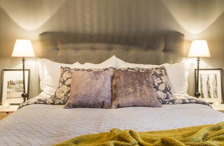 Cozy bedroom with beautiful lighting - close up  Reklamní fotografie