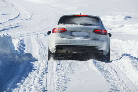 Car ice crossing during the winter season