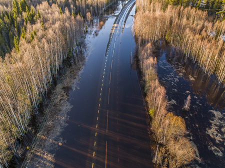 Flooded road aerial view Banque d'images - 101415880