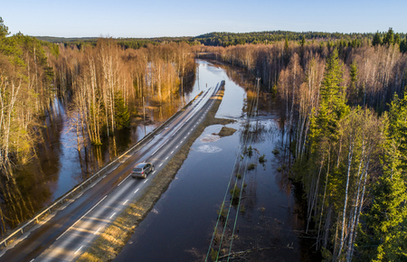 Flooded road aerial view  Stock Photo