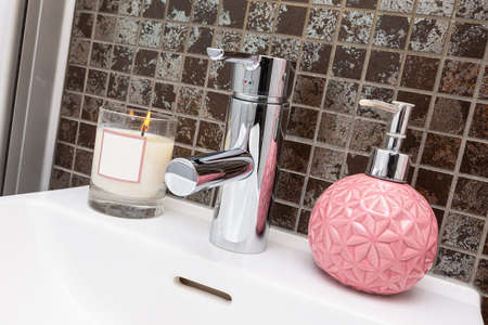 Interior home styling classic and modern bathroom sink Stock fotó