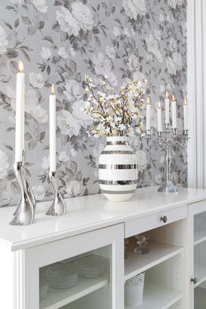 Interior home styling classic and modern details with candles