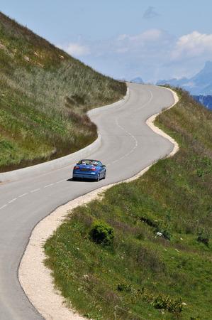 Detachable car on a mountain road