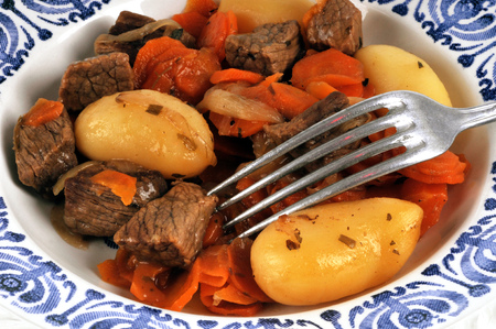 Plate with beef bourguignon