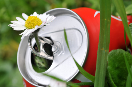 Peker in an empty can thrown in the grass