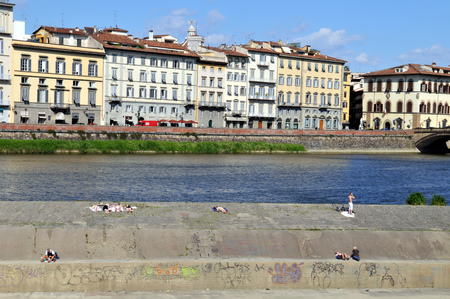 On the banks of the Arno in Florence