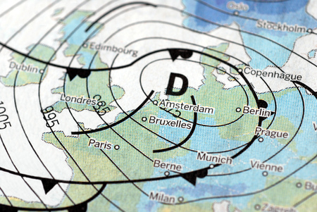 Meteorological map indicating a depression