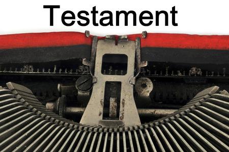 Testament written on the machine to be written Standard-Bild - 103730366