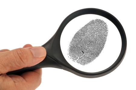 A fingerprint under the magnifying glass 版權商用圖片