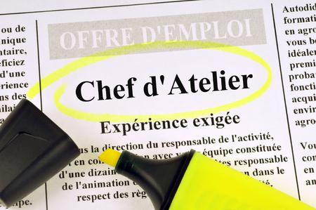Job offer of workshop manager
