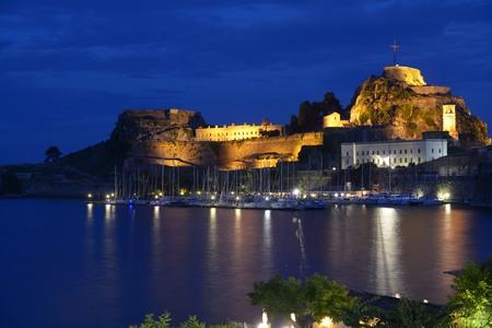 Old Corfu Citadel at night