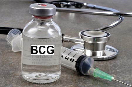 The bottle of BCG vaccine Imagens