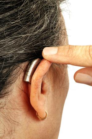 Hearing device on one ear Stock fotó
