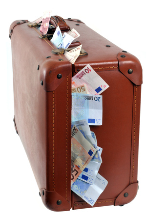 The bag of banknotes Stock Photo