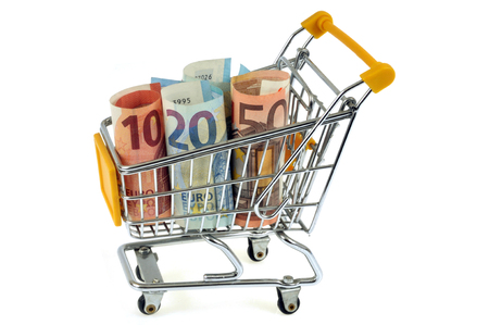 Shopping cart with banknotes