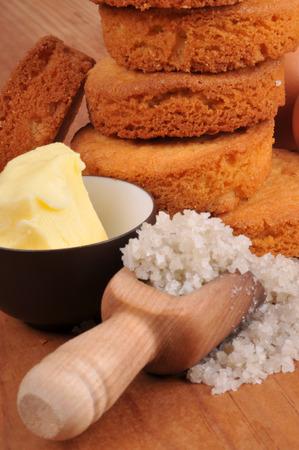 Breton pucks with its ingredients Stock Photo