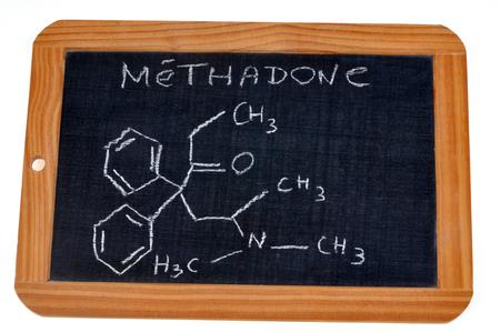Chemical formula of methadone Stock Photo
