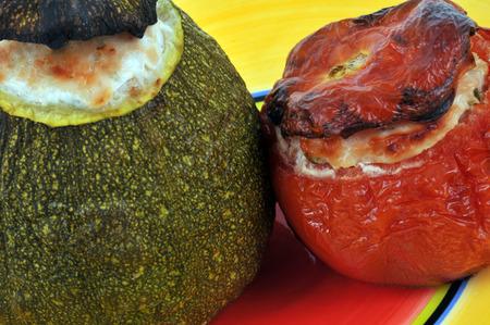 Stuffed zucchini and tomato Stock Photo