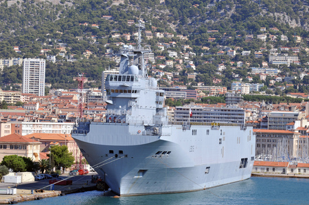 Warship in the port of Toulon Editorial