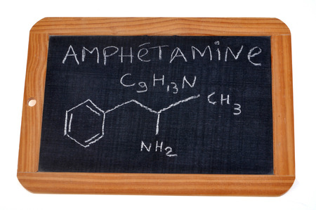 Chemical formula of amphetamine Stock Photo