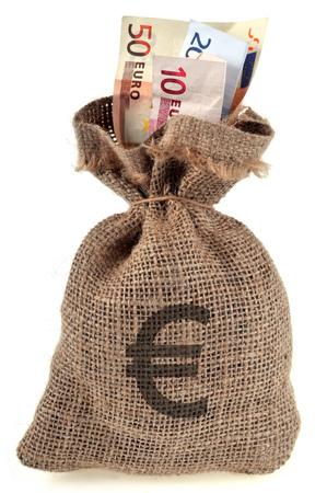Bag of banknotes Stock Photo