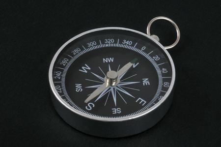 Compass on a black background Фото со стока