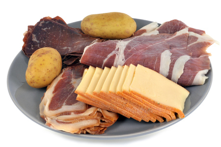 Delicatessen and cheese for raclette