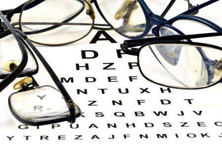 Glasses posed on a visual test