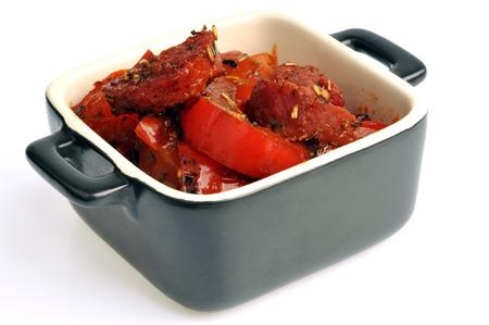 Ramekin with red peppers Stock Photo