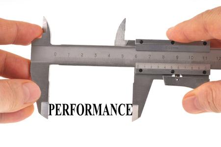 Performance measurement with vernier caliper Stock Photo